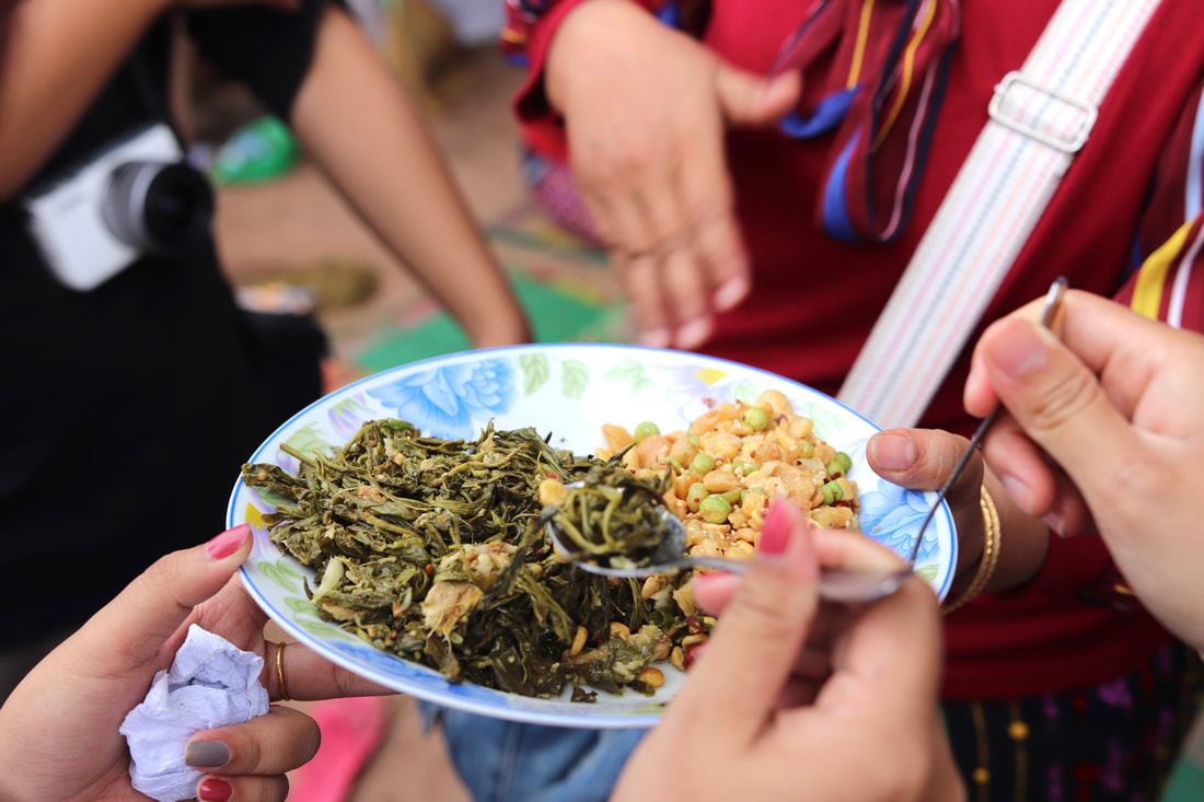Tea leaf (lahpet) salad, a favorite snack and a main export of the village where we did fieldwork.
